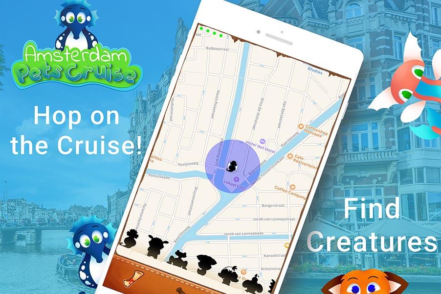 amsterdam pets cruise rondvaart spel app