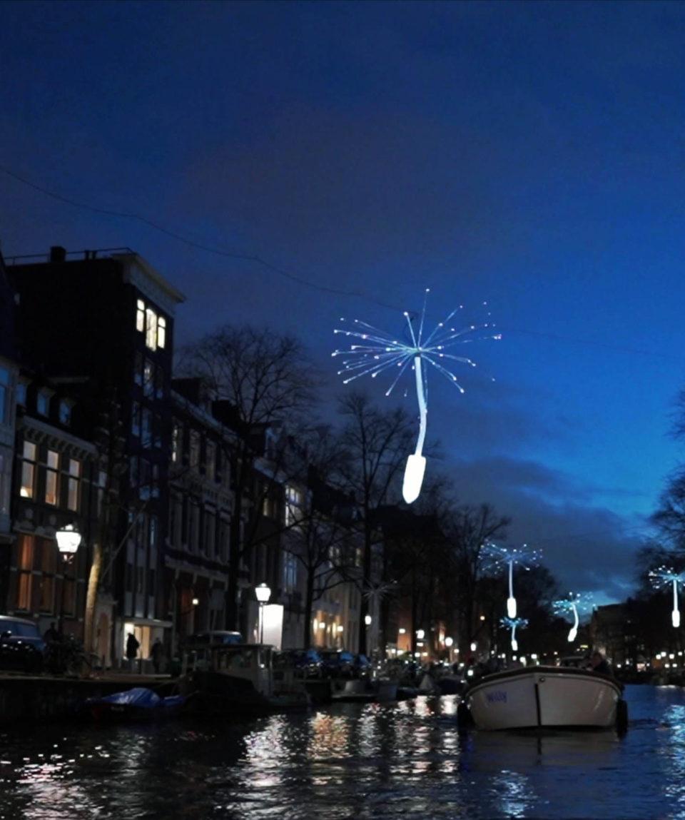 Amsterdam light festival open boot Blue Boat